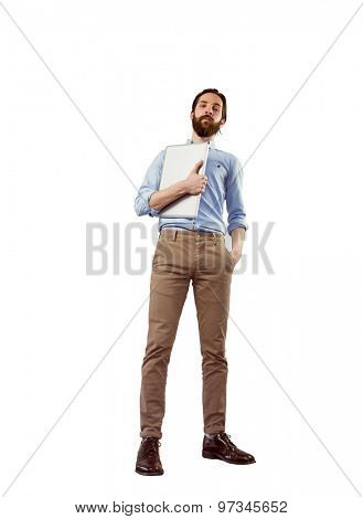 Handsome hipster holding a laptop on white background