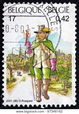Postage Stamp Belgium 2001 17Th Century Postman