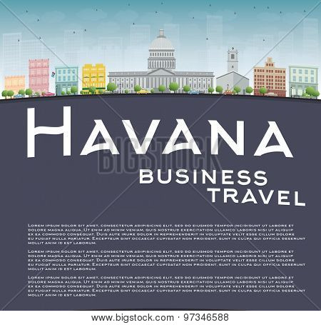 Havana Skyline with Color Building, Blue Sky and copy space. Business travel concept. Vector Illustration