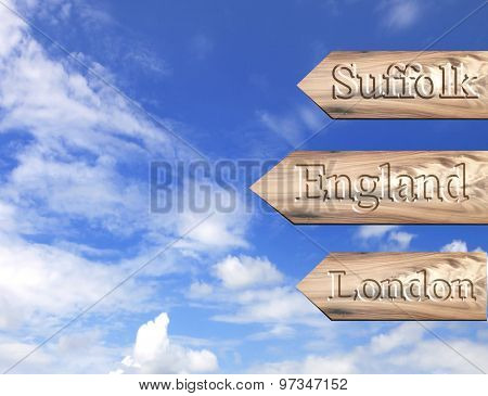 Wooden Arrow Sign Pointing Destination Suffolk,england,london