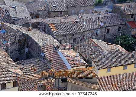 Bolsena (viterbo, Lazio, Italy): Typical Tiled Roofs Of The Old Houses