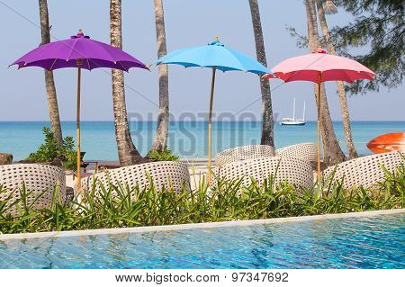 Swimming Pool And Beach Chairs Near The Sea, Thailand
