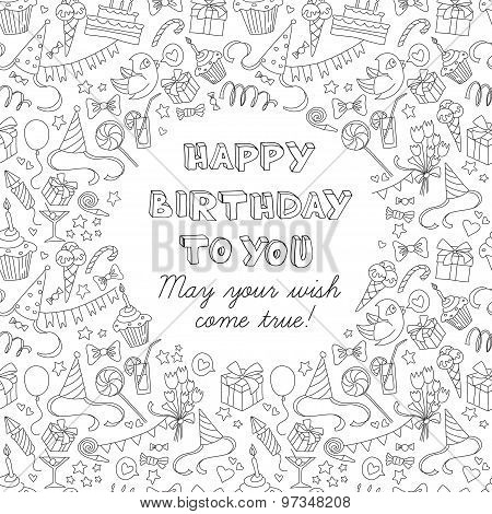 Happy birthday party greeting card with hand drawn pattern and l