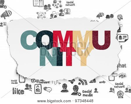 Social media concept: Community on Torn Paper background