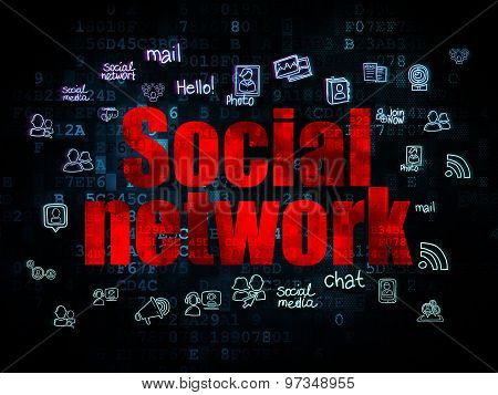 Social network concept: Social Network on Digital background