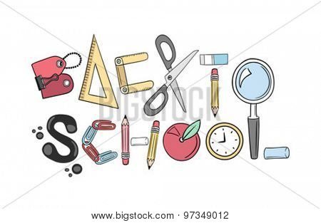 Back to school written with school utensils vector against white background