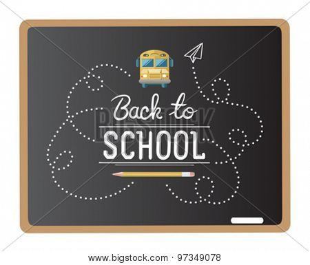 Chalk drawn back to school message vector on chalkboard