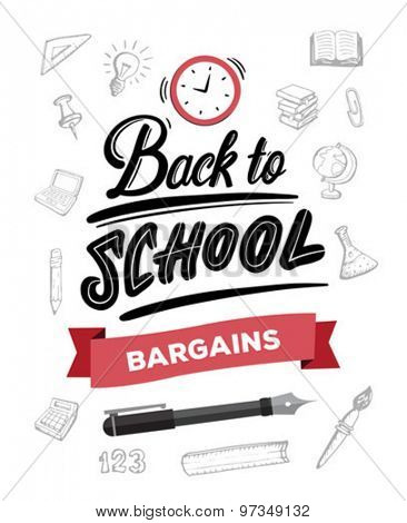 Back to school message with bargains banner vector against education items background