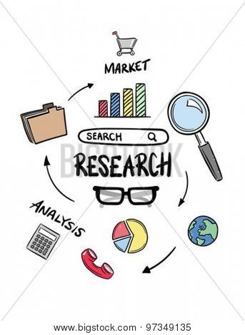 Coloured research icons concept vector against white background