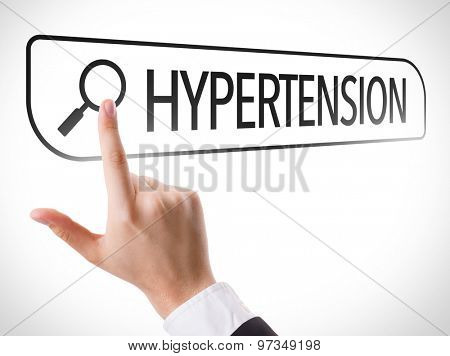 Hypertension written in search bar on virtual screen