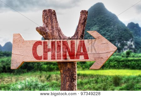 China wooden sign with rural background