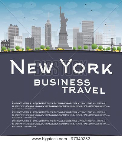 New York city skyline with blue sky, clouds and copy space. Business travel concept. Vector illustration