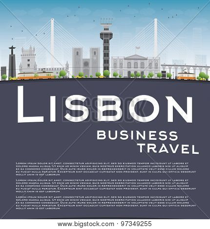 Lisbon city skyline with grey buildings, blue sky and copy space. Business travel concept. Vector illustration