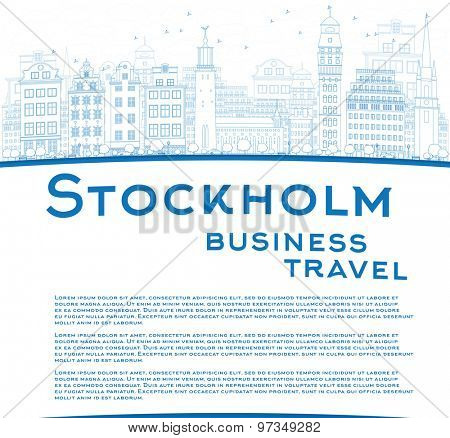 Outline Stockholm Skyline with Blue Buildings and copy space. Business travel concept. Vector Illustration