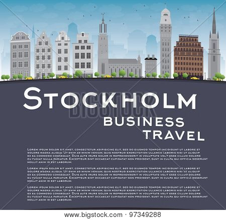 Stockholm Skyline with Grey Buildings, Blue Sky and copy space. Business travel concept. Vector Illustration