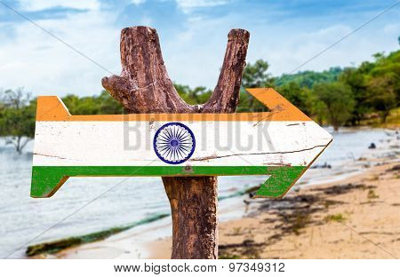 India flag wooden sign with exotic background