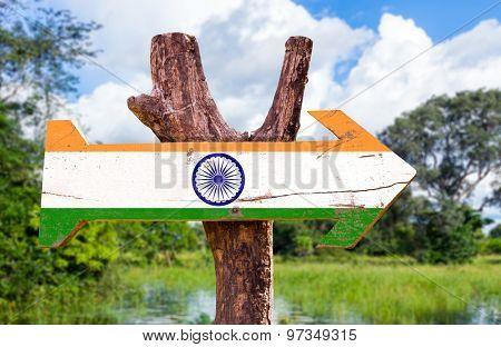 India flag wooden sign with forest background