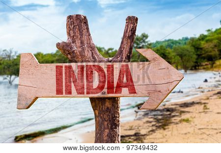 India wooden sign with exotic background
