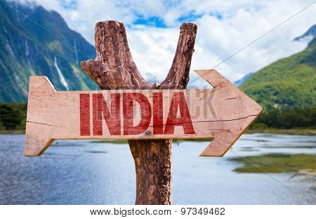 India wooden sign with mountains background