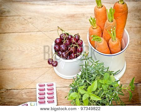 Healthy (diet) organic vegetables and supplements