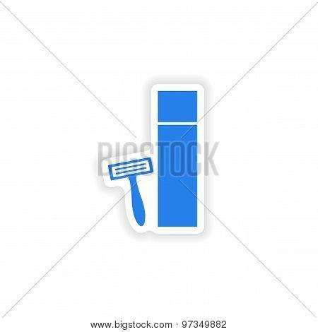 icon sticker realistic design on paper shaving