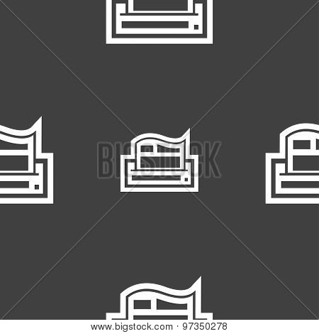 Newspaper Icon Sign. Seamless Pattern On A Gray Background. Vector