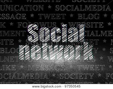 Social network concept: Social Network in grunge dark room