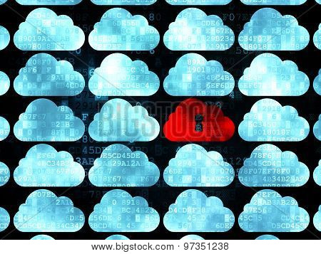 Cloud networking concept: cloud with keyhole icon on Digital background