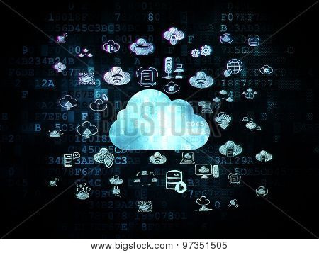 Cloud networking concept: Cloud on Digital background