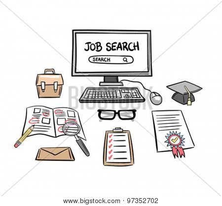 Searching for a job vector against white background