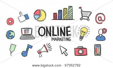 Digitally generated Online marketing concept vector