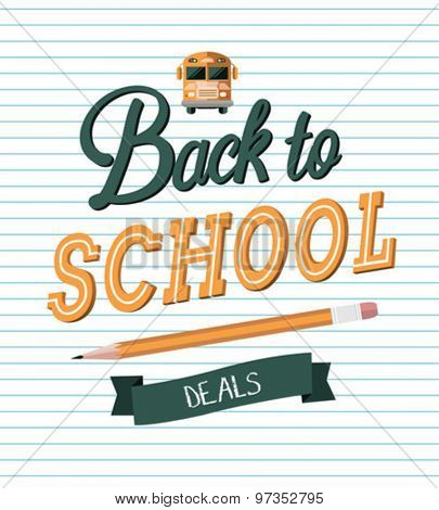 Back to school message with deals banner vector against notepad background