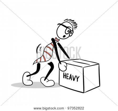 Digitally generated Cute cartoon lifting heavy box