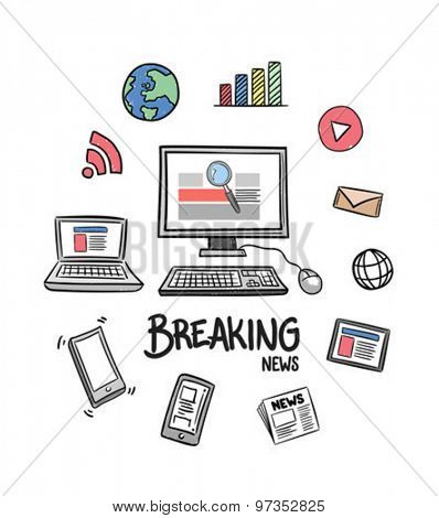 Digitally generated Breaking news concept vector