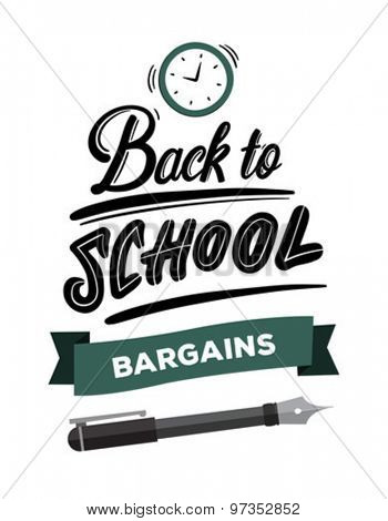 Back to school message with bargains banner vector against white background