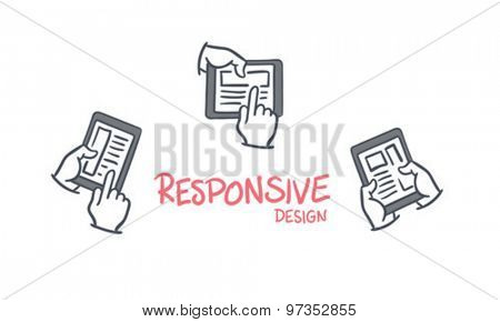 Responsive design vector against white background