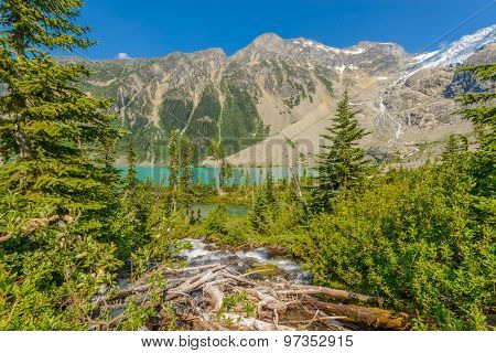 Majestic mountain river in Canada. Upper Joffre Lake Trail in British Columbia.