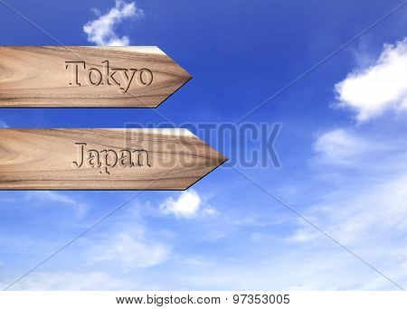 Wooden Arrow Sign Pointing Destination, Tokyo, Japan