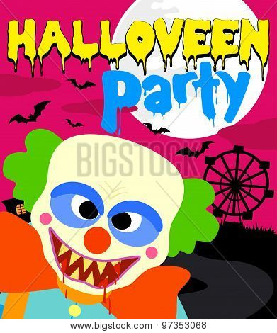 Halloween party background with clown