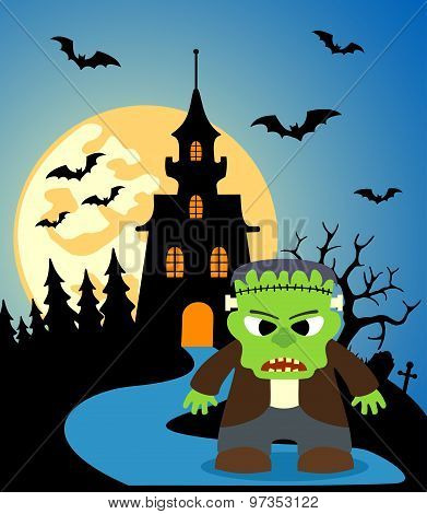 Halloween Background With Frankenstein
