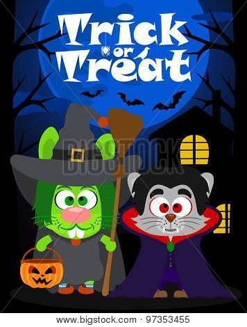 Halloween background trick or treating with animal, vector