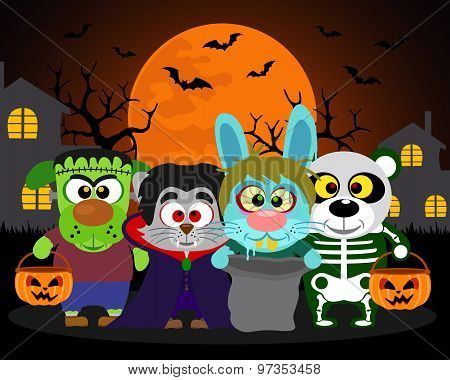 Halloween Background  Trick Or Treat Animals