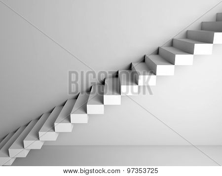 Cantilevered Stairs Construction On White Wall, 3D