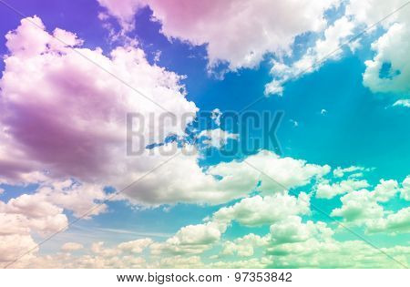 Colorful Cloud in blue sky ( Filtered image processed Colorful effect. )