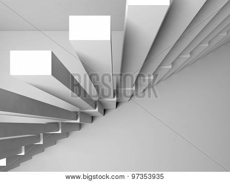 Stairs On White Wall, 3D Interior Fragment