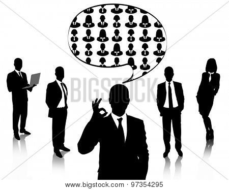 Silhouettes of business people with speech bubble isolated on white