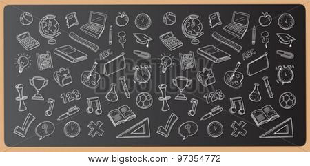 Chalk drawn education icons vector on chalkboard