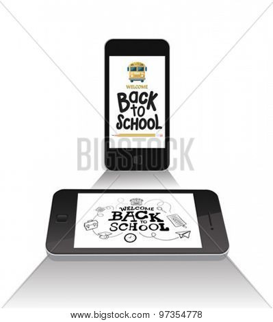 Smartphones with back to school message vector against white background