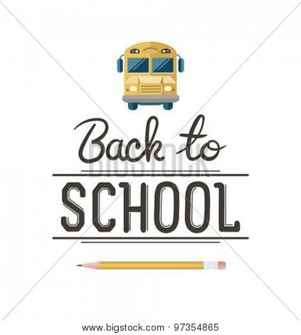 Back to school message with school bus icon vector against white background