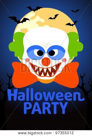 Halloween Party Banner With Clown